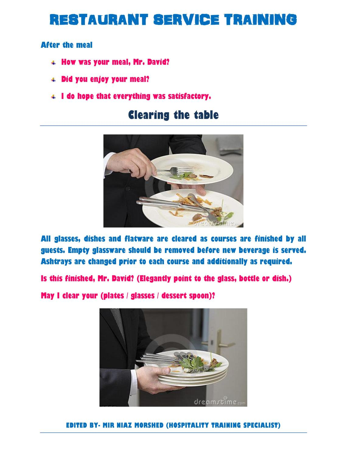 fine dining server training manual