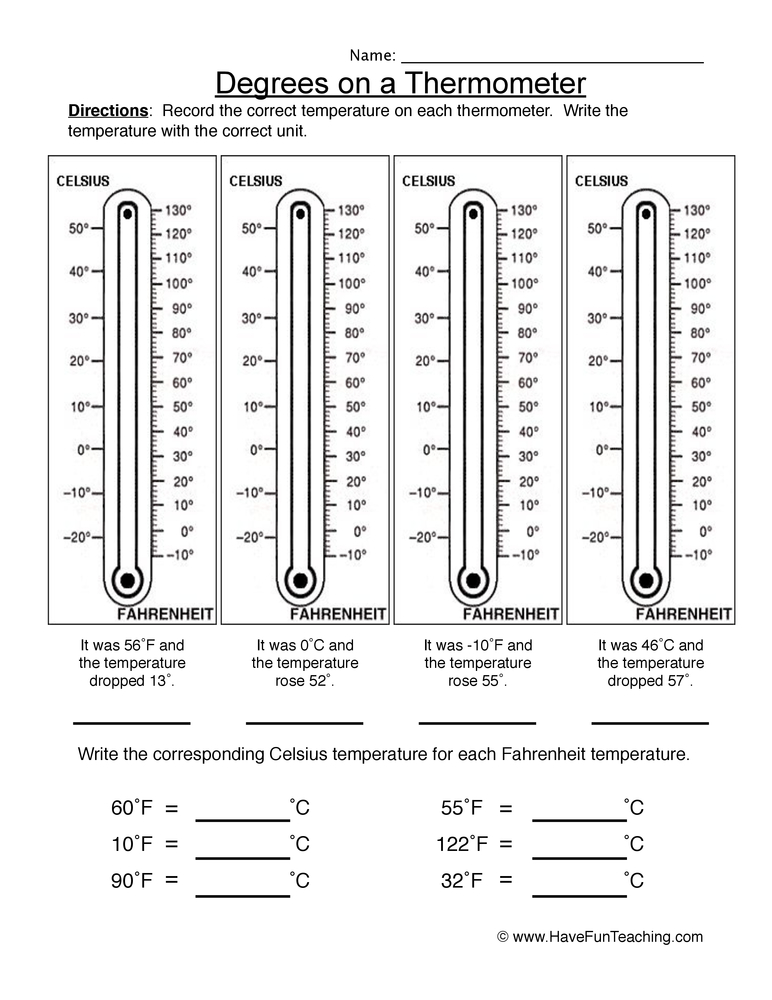 Reading a thermometer worksheet pdf