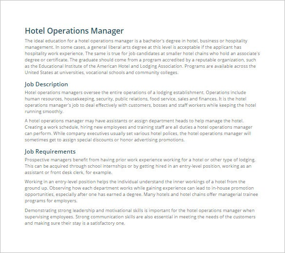 Hotel duty manager job description pdf