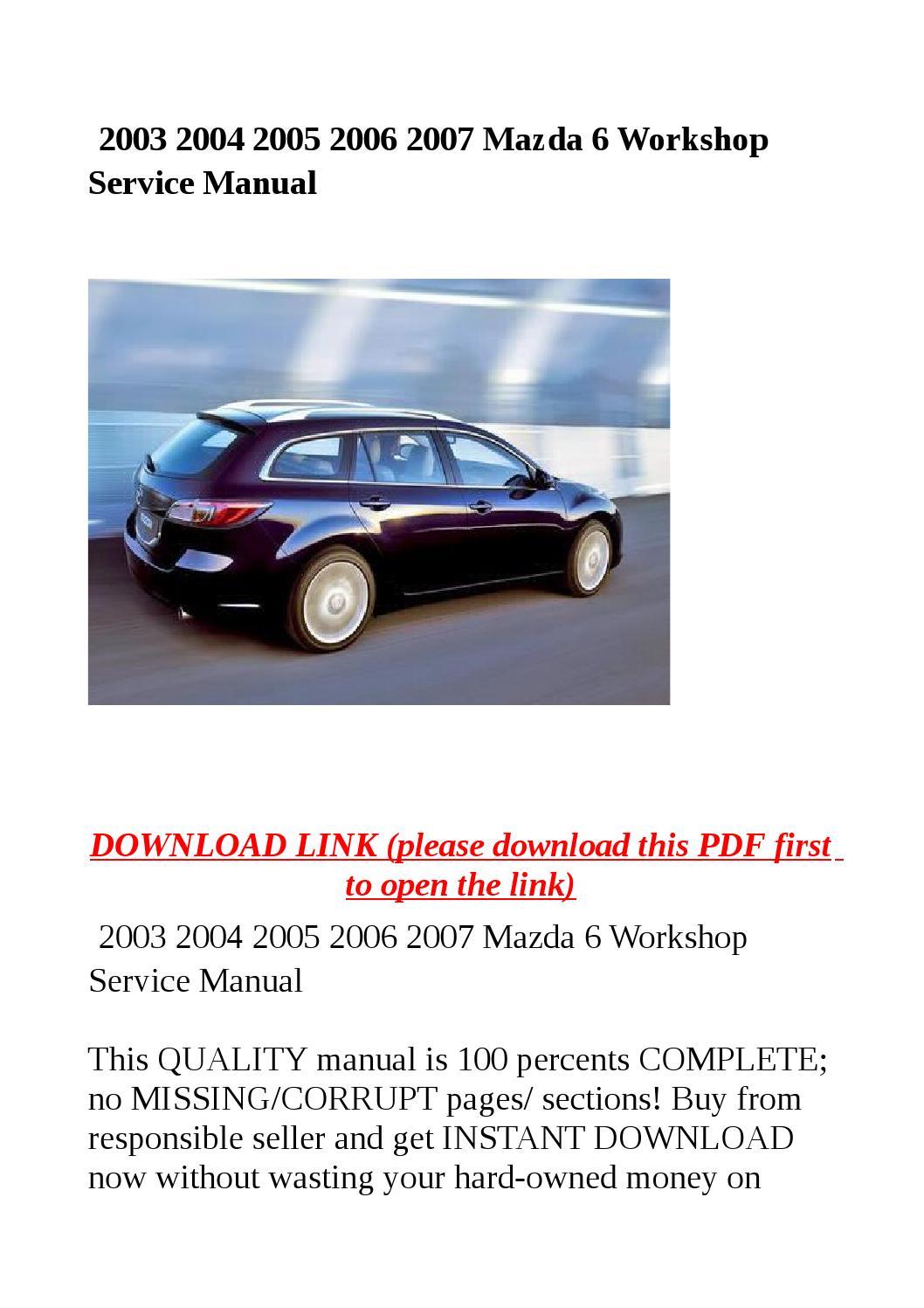 2005 mazda 6 service manual