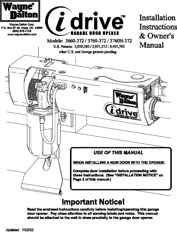 Wayne dalton idrive pro manual