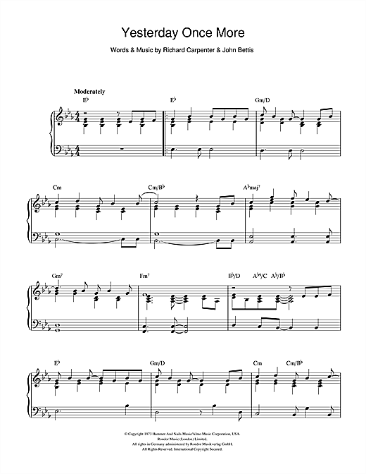 Yesterday once more sheet music pdf