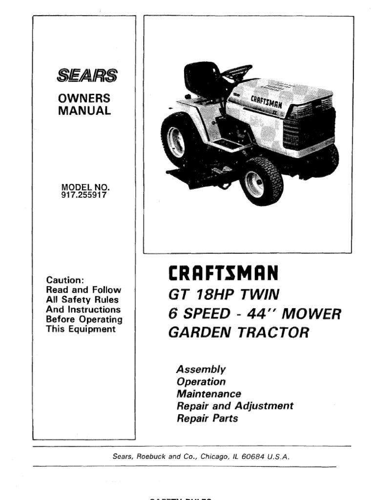 craftsman lawn tractor repair manual