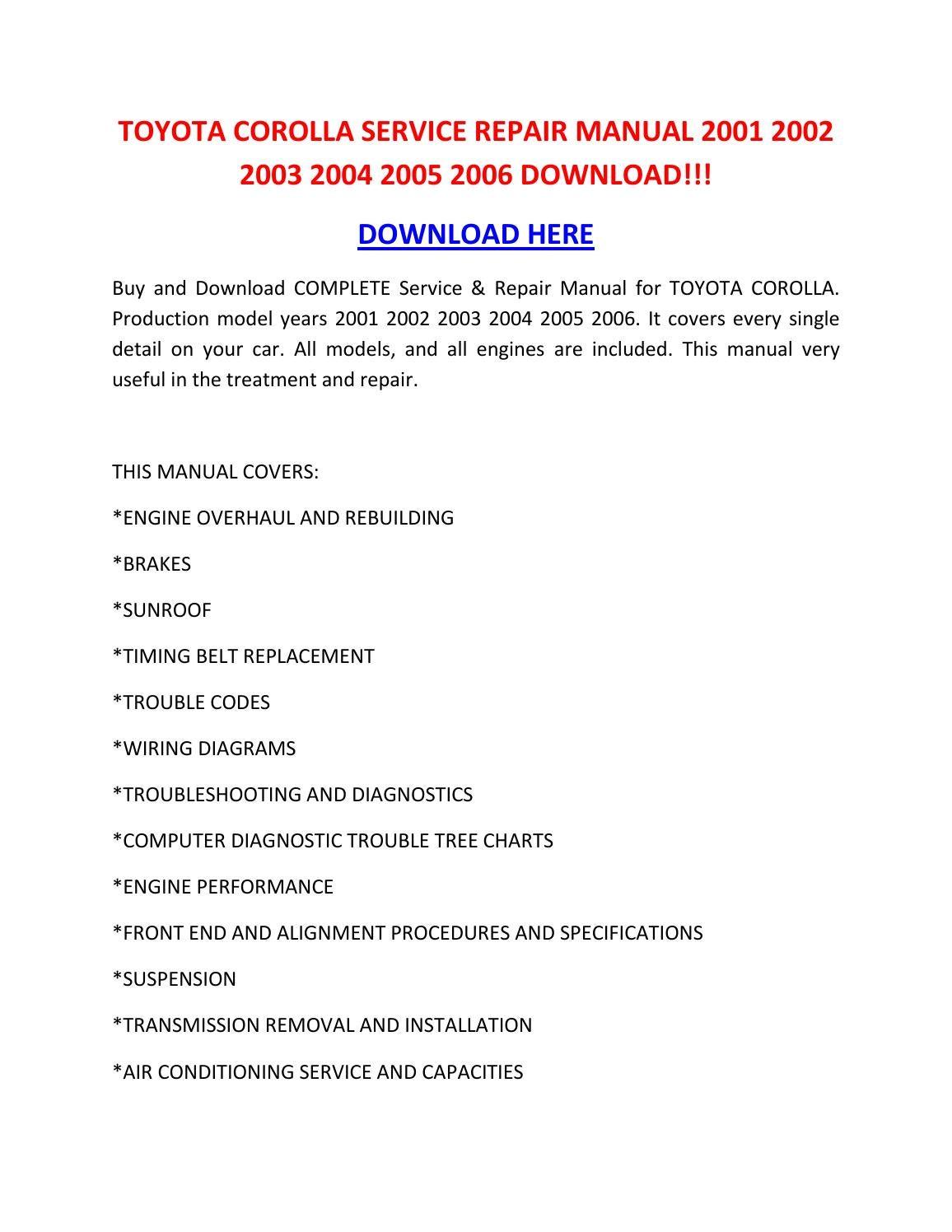 2006 toyota corolla service manual download