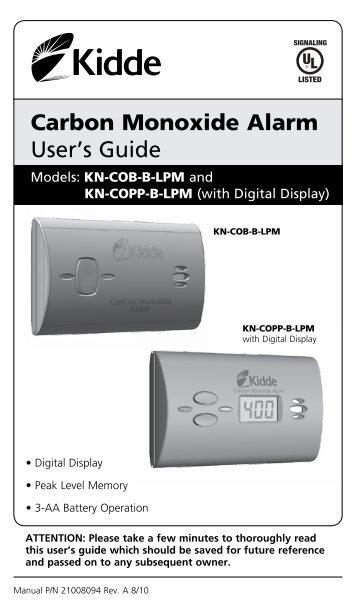 Kidde nighthawk carbon monoxide detector user manual