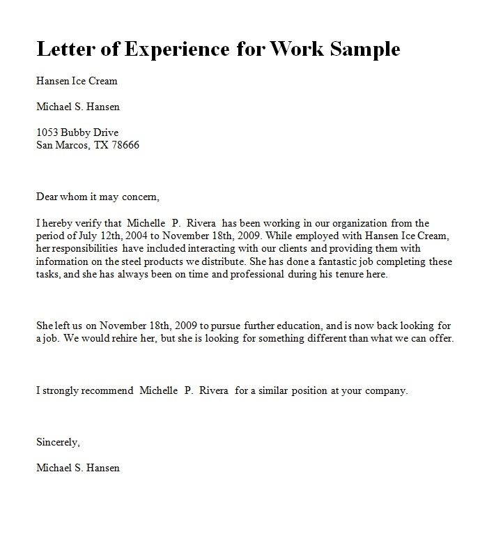 Job experience letter sample from employer pdf