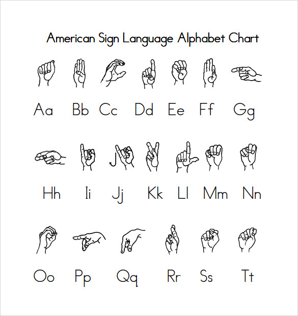 manual alphabet sign language printable