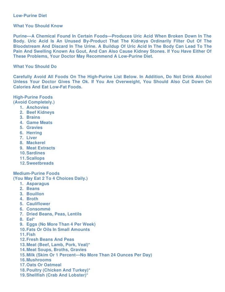 Uric acid foods to avoid list pdf