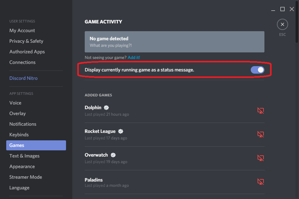 Discord how to show game playing
