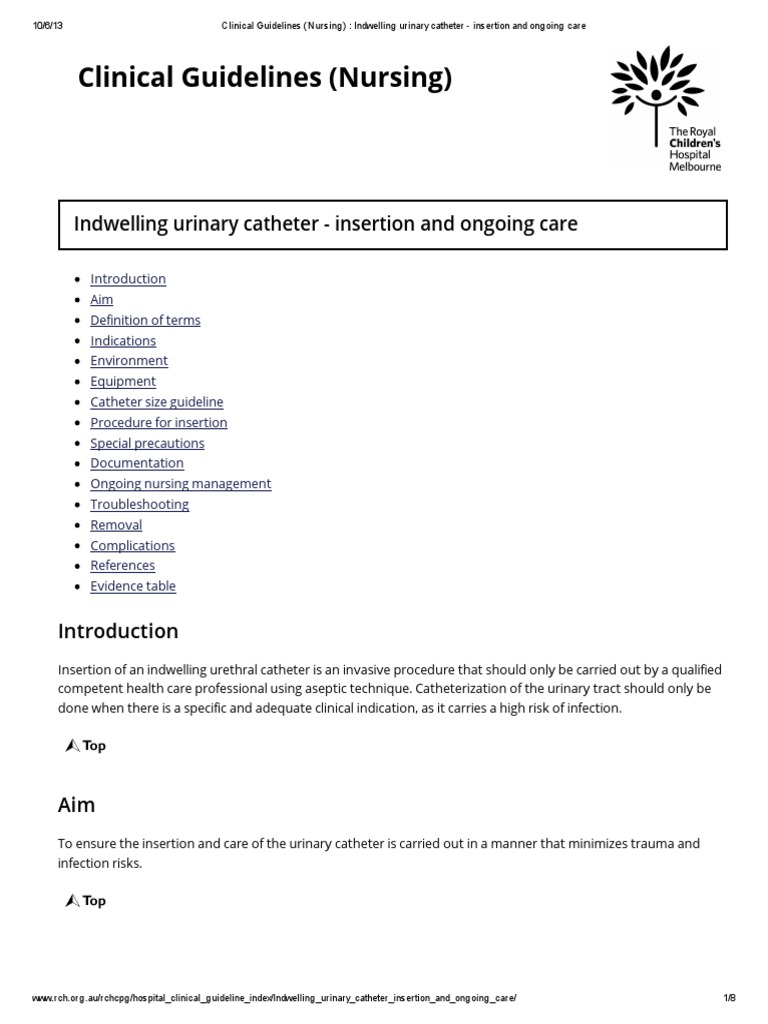 Indwelling catheter clinical practice guidelines