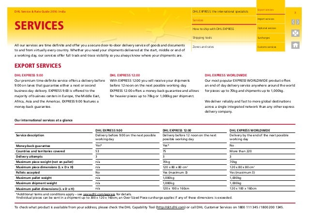 Dhl rate and service guide 2016