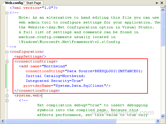 Sql server authentication connection string example