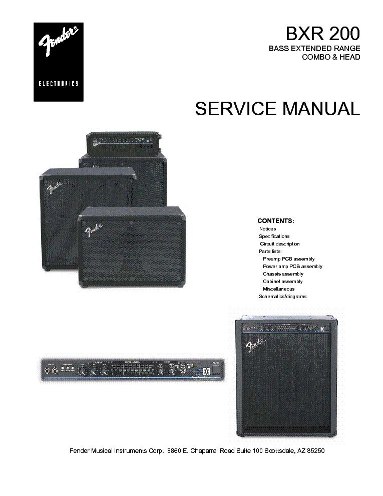 fender bxr servi e manual