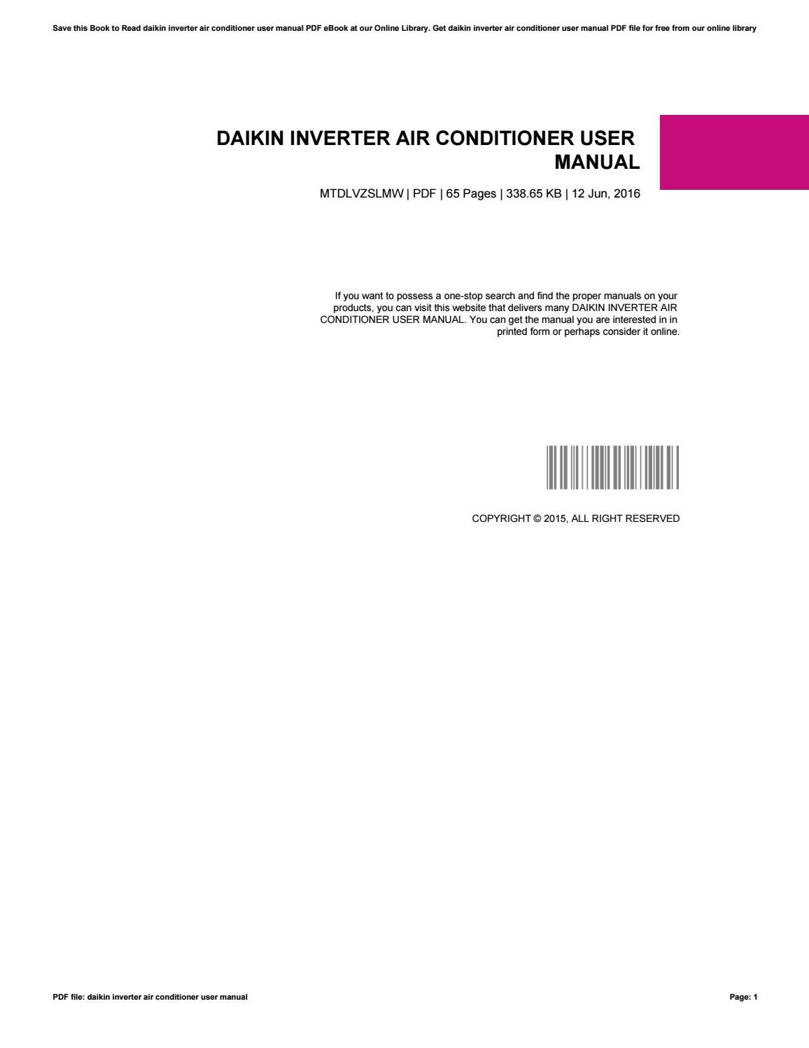 daikin inverter ftxs60fvma user manual