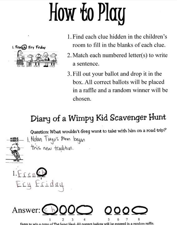 instructions for scavenger hunt for kids tin
