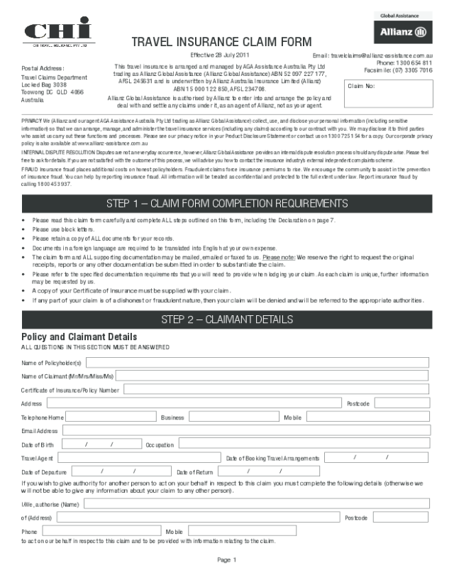 Qbe travel insurance application form