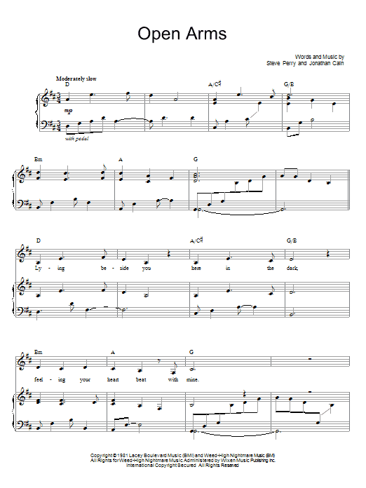 Journey open arms piano sheet music pdf