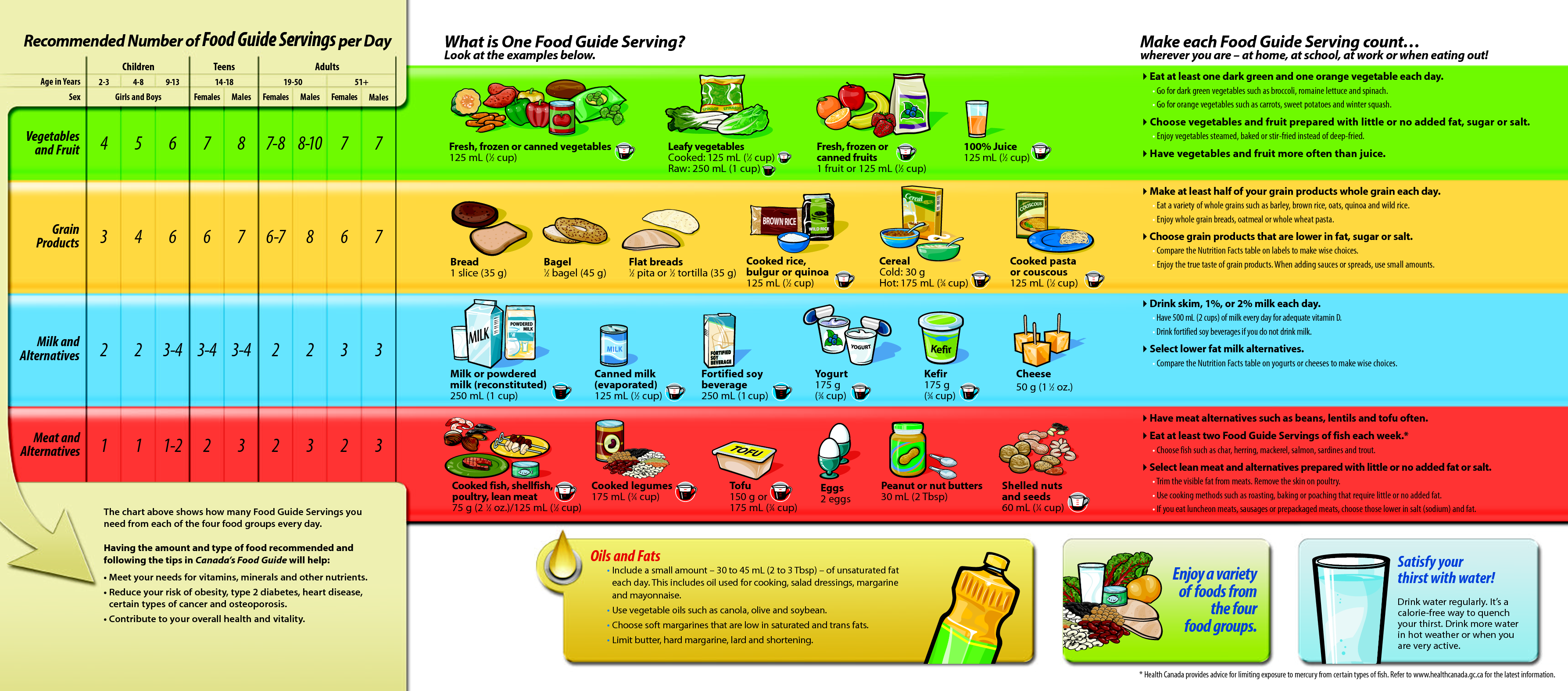 Canada food guide tracking chart