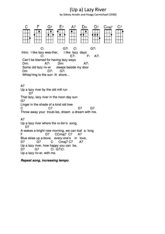 Up a lazy river pdf