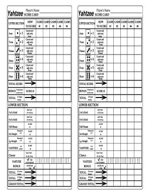 Printable yahtzee score card pdf