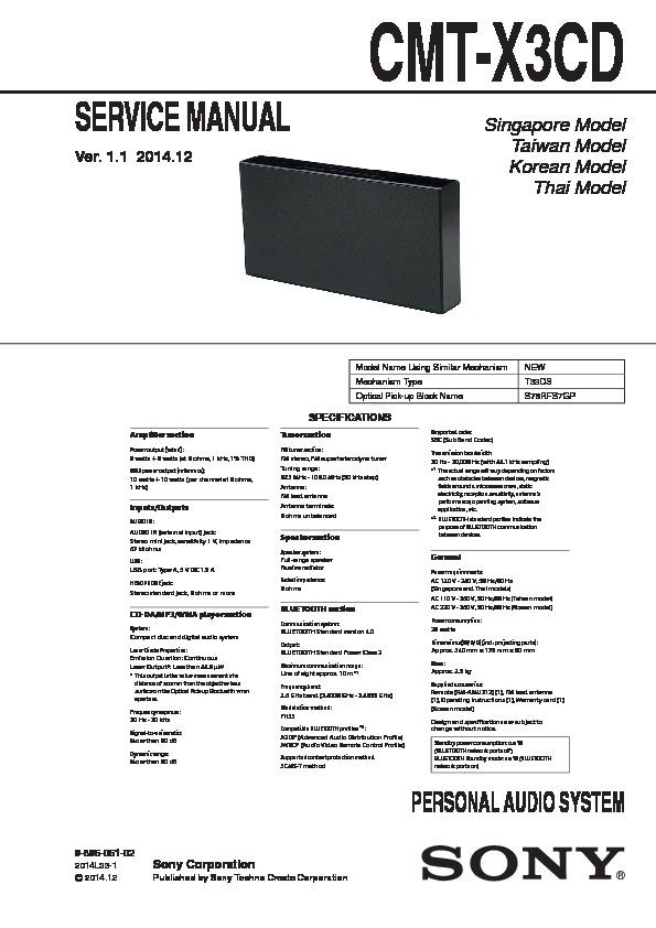 sony cmt x3cd user manual
