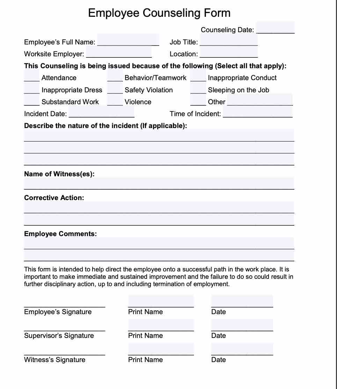Free employee termination form pdf