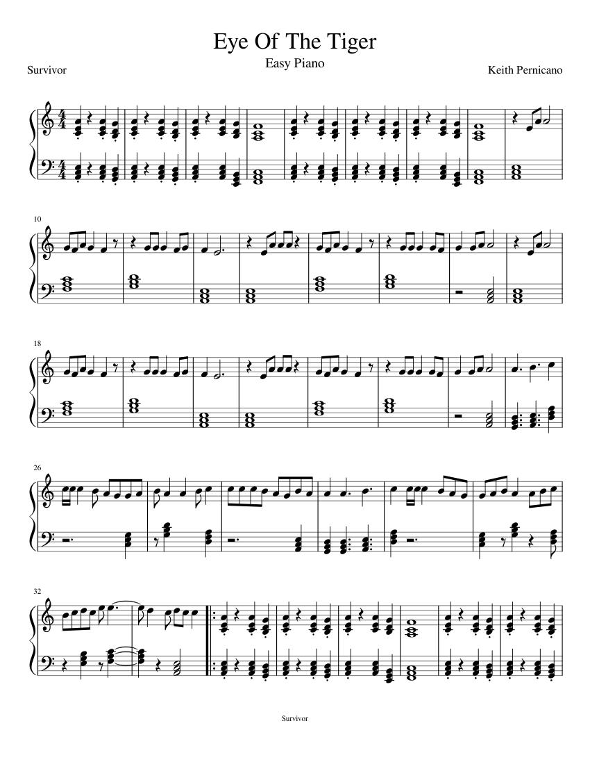 Eye of the tiger piano pdf