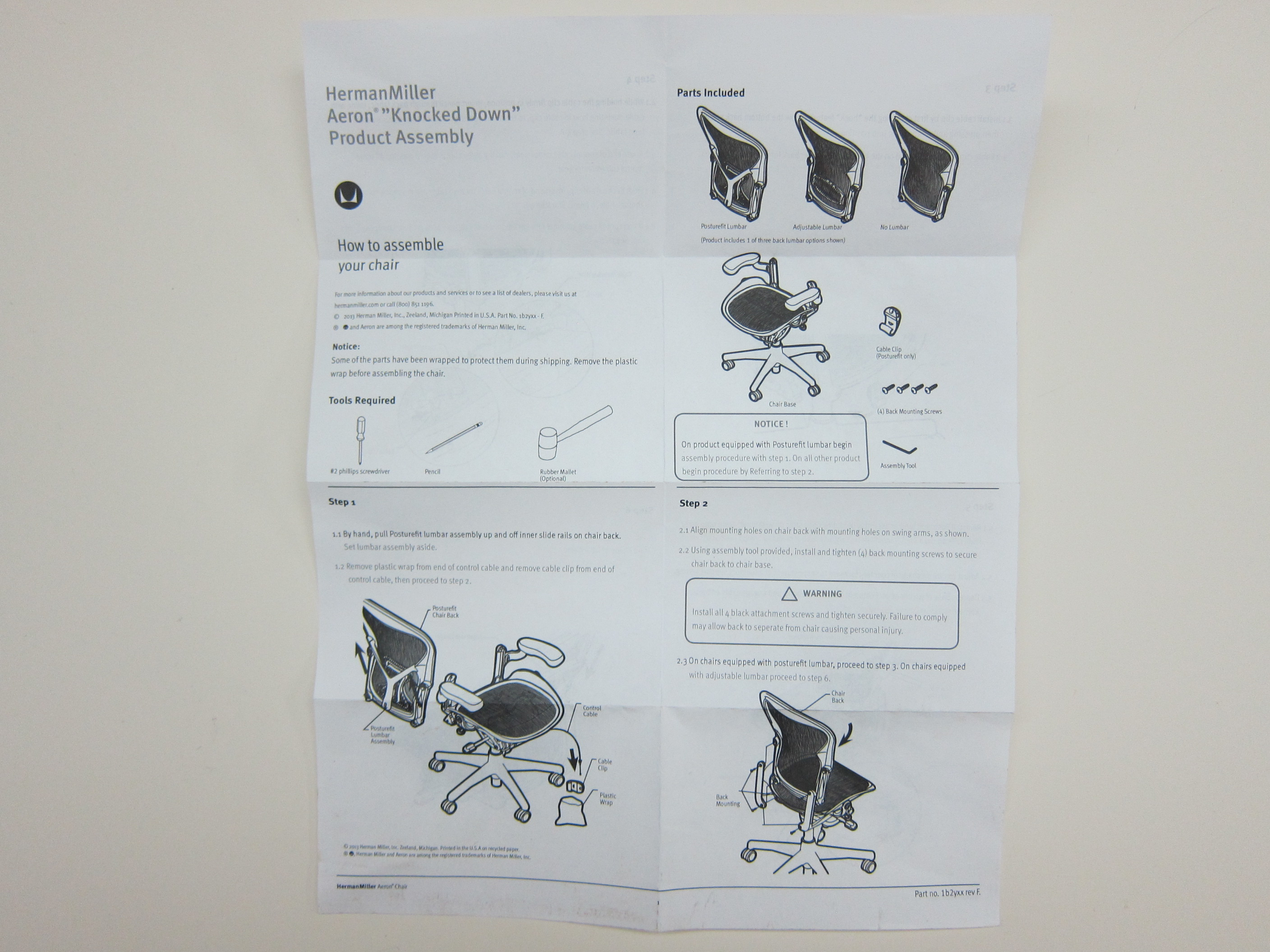 herman miller aeron chair instructions