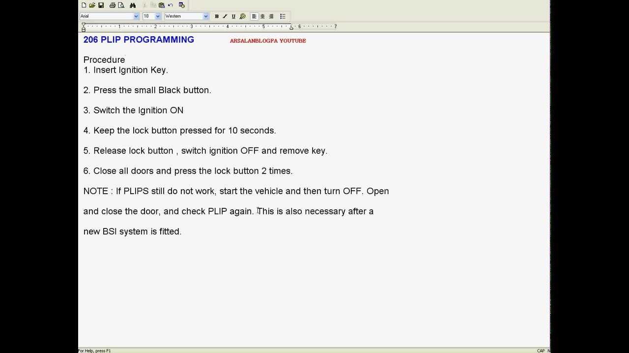 peugeot key programming instructions