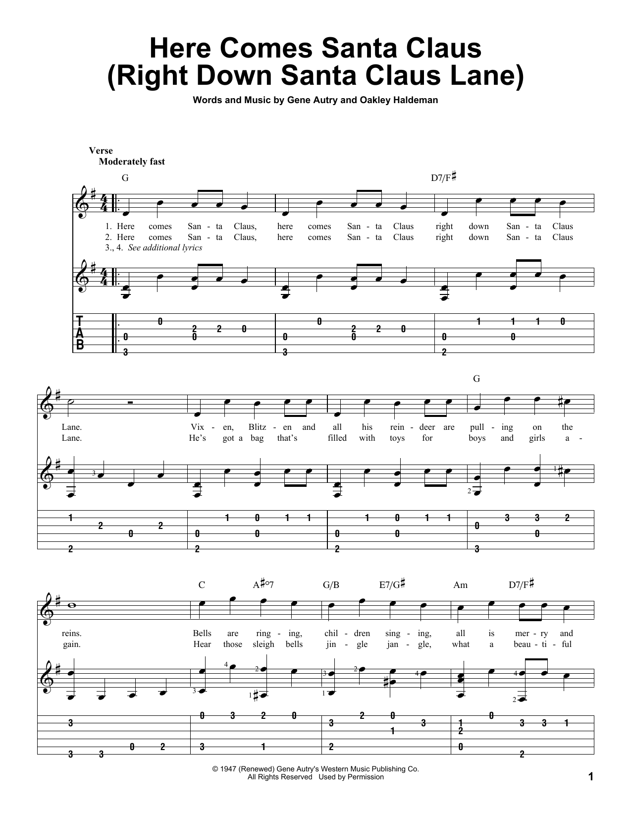 Here comes santa claus piano sheet music pdf