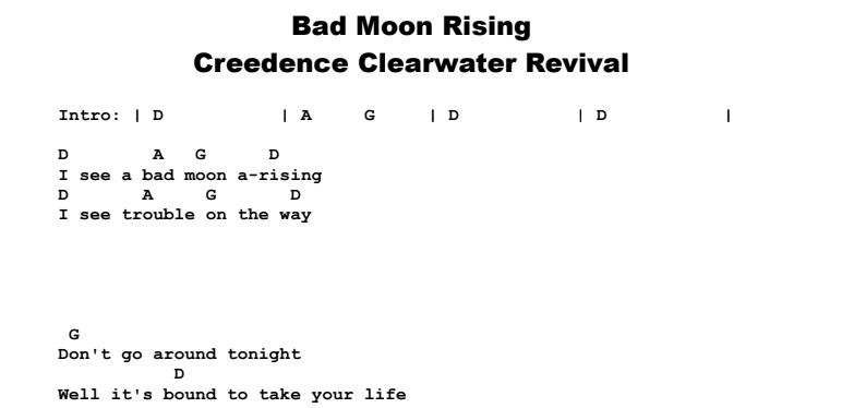 Bad moon rising lyrics pdf