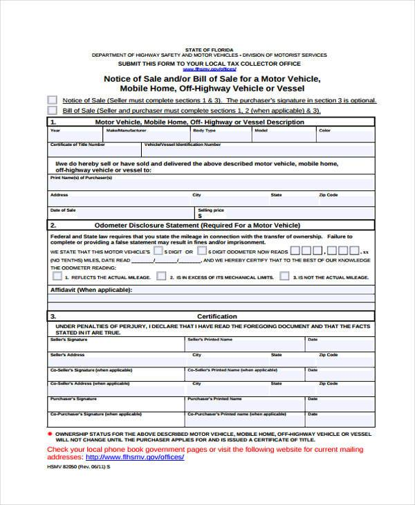 Motor tax change of ownership form