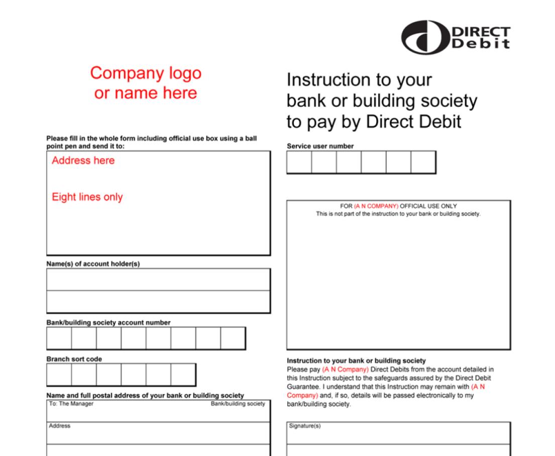 direct debit instruction form