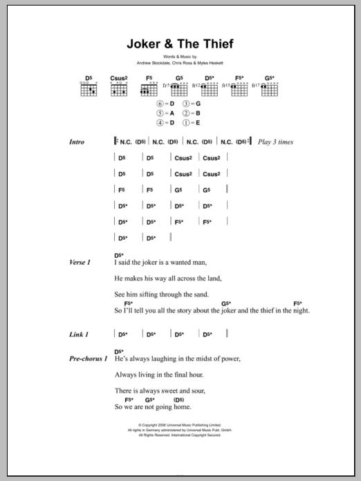 Joker and the thief tab pdf