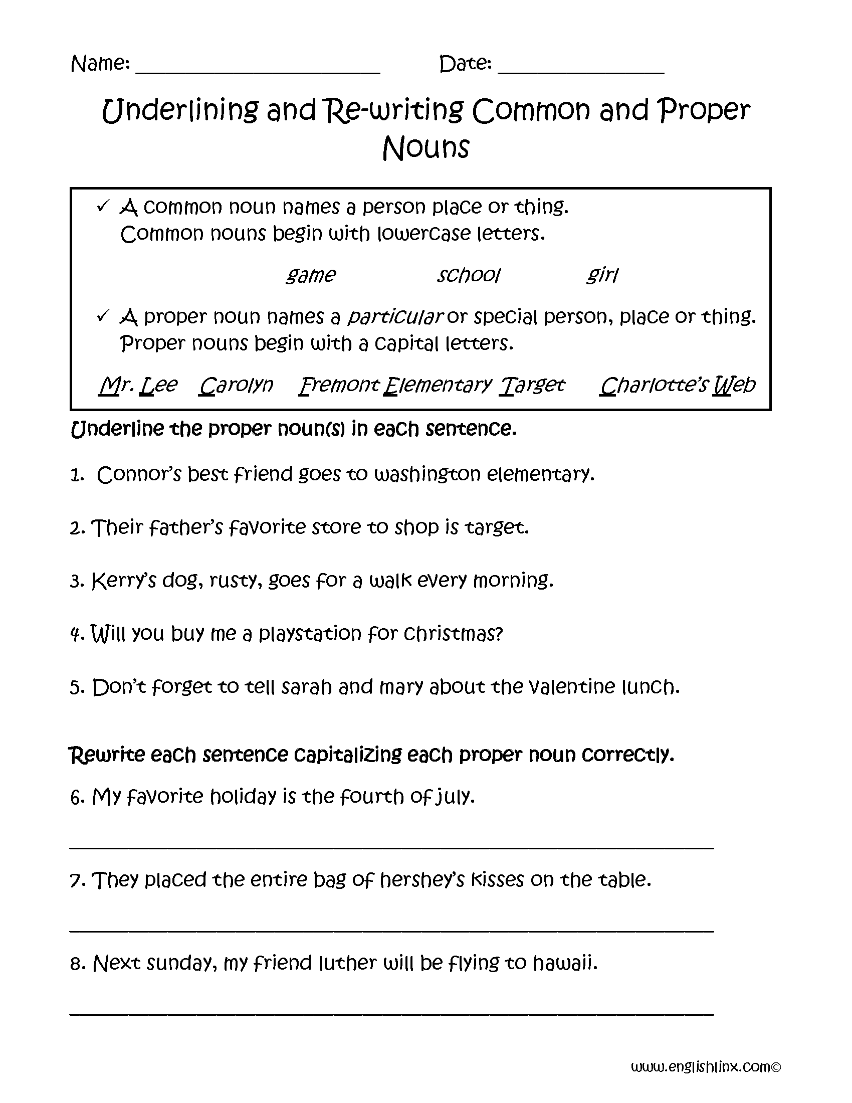 Common and proper noun exercises pdf
