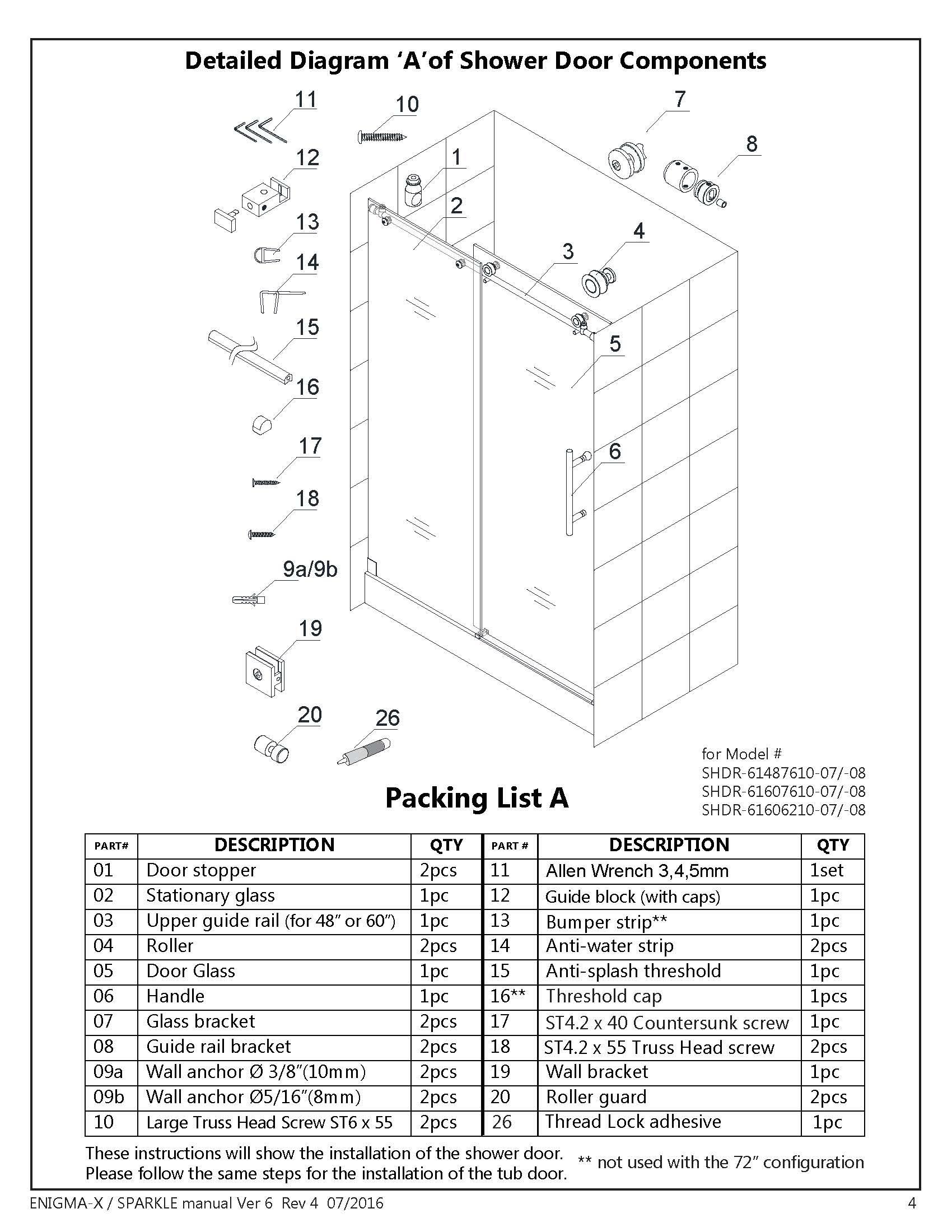 glass shower door installation instructions