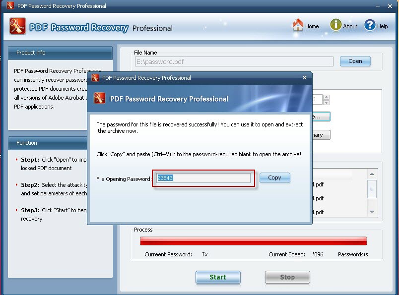 A pdf password security registration key