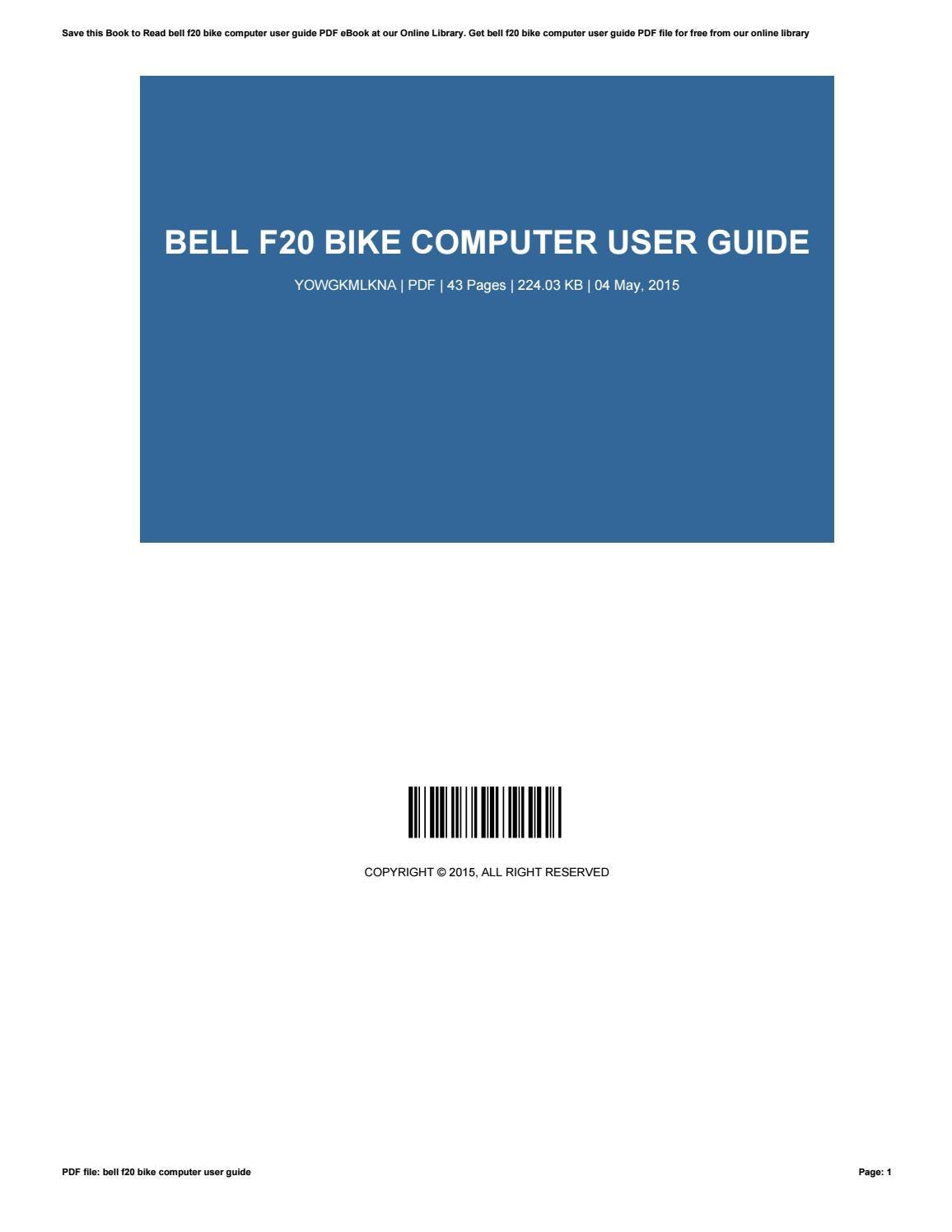 bell f20 bike computer manual pdf