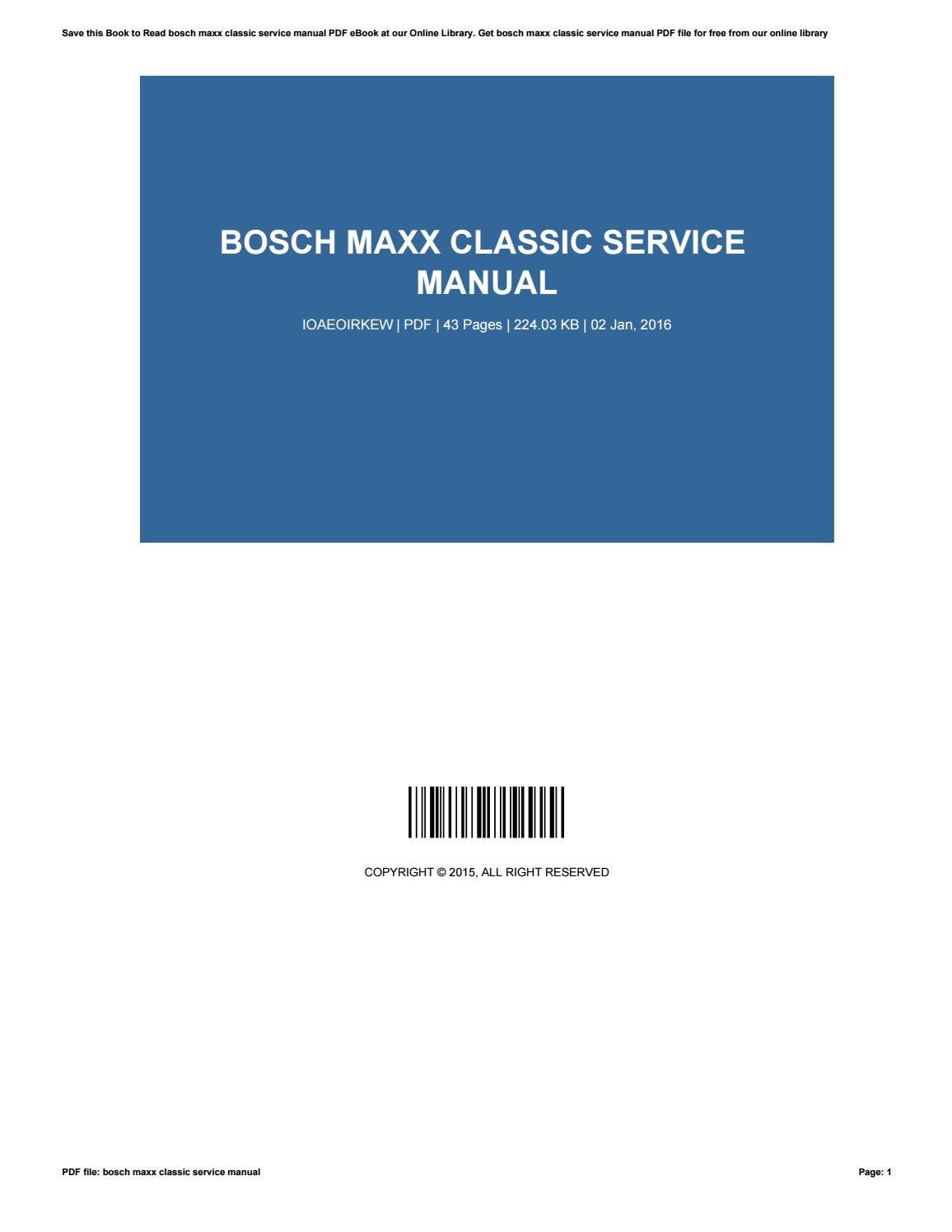 bosch maxx classic manual e6