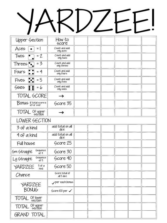 Printable triple yahtzee score sheets pdf