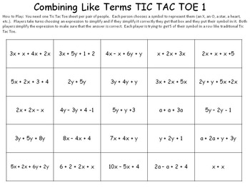 Collecting like terms worksheet pdf