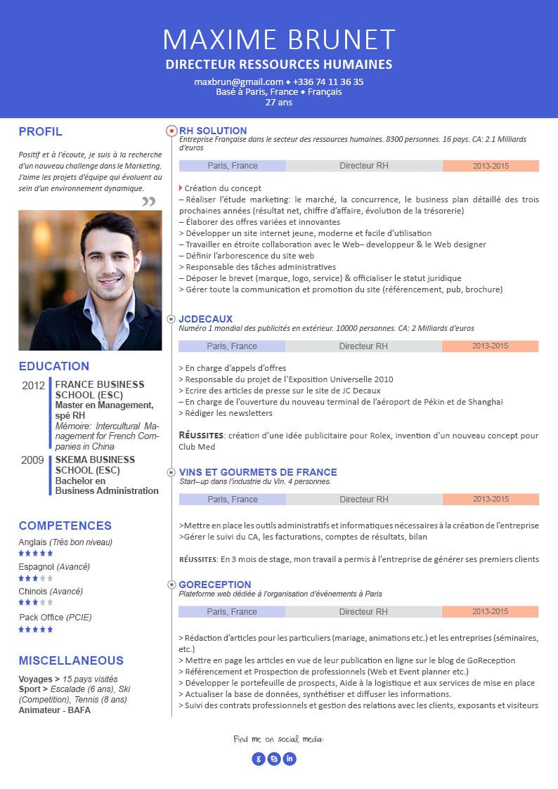 Cv en francais exemple pdf
