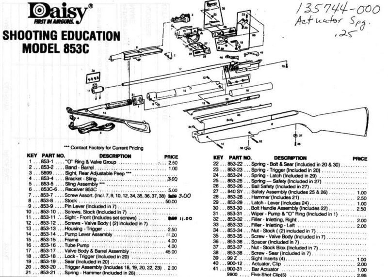 daisy model 25 bb gun service manual parts breakdown