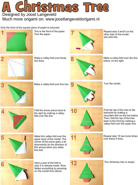 3d christmas tree origami instructions