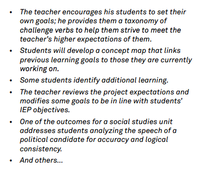 example of setting instructional outcomes