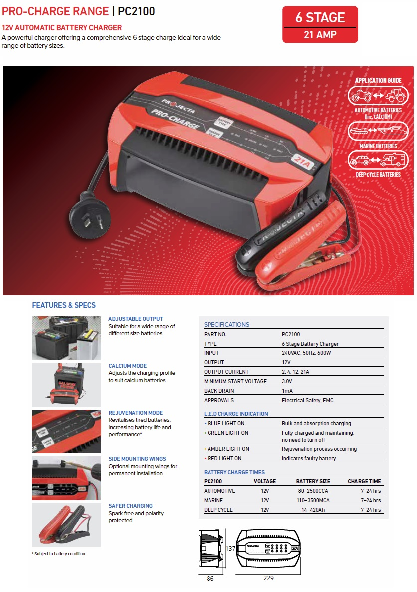 Projecta pro charge battery charger manual