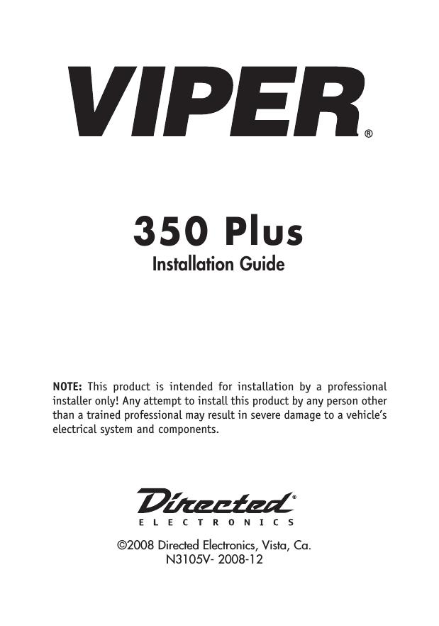 Viper 350 plus 3105v installation manual