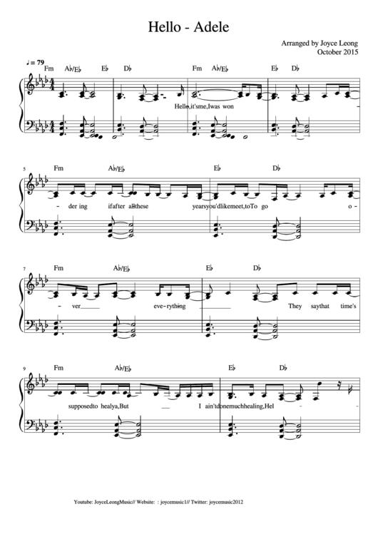 Hello piano sheet music pdf