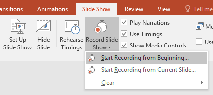 how to manually set slide show timings