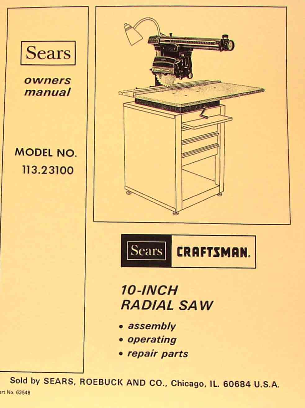 instruction manual for sears radial arm saw